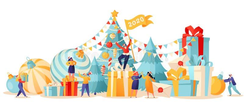 Nieuwjaar trendkaart Achtergrond met kleine platte tekenfilmpersonages die zich voorbereiden op vakantie vector illustratie