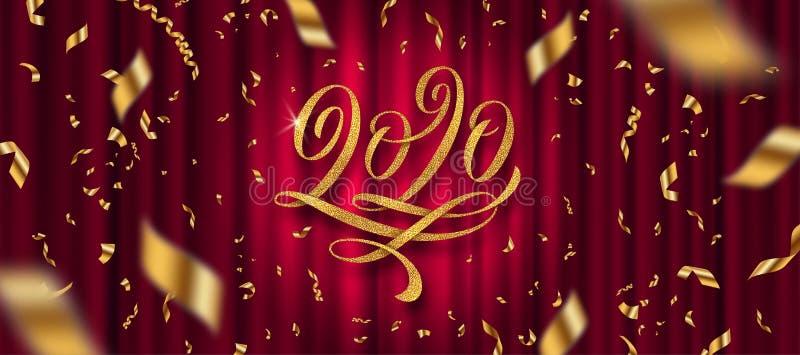 2020 Nieuwjaar van de groet Glitter gold flourishes kalligraphic 2020 year logo and golden confetti on a red gordtain background stock illustratie