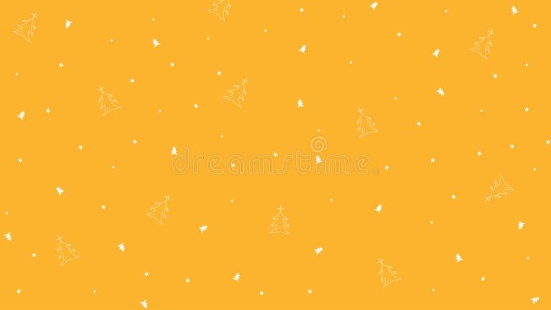 Nieuwjaar Vector Gele achtergrond met Sterren, Cirkels, Klokken en Boom royalty-vrije stock afbeeldingen