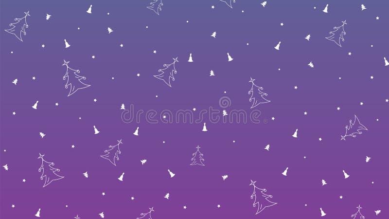 Nieuwjaar Vector Violette achtergrond met Sterren, Cirkels, Klokken en Boom stock afbeeldingen