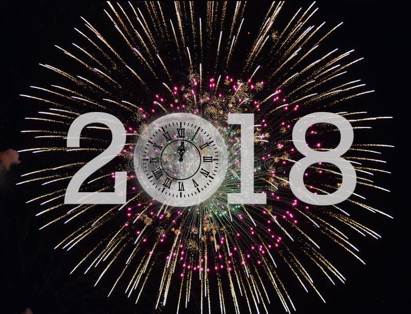 Nieuwjaar 2018 vuurwerk en maanklok stock illustratie