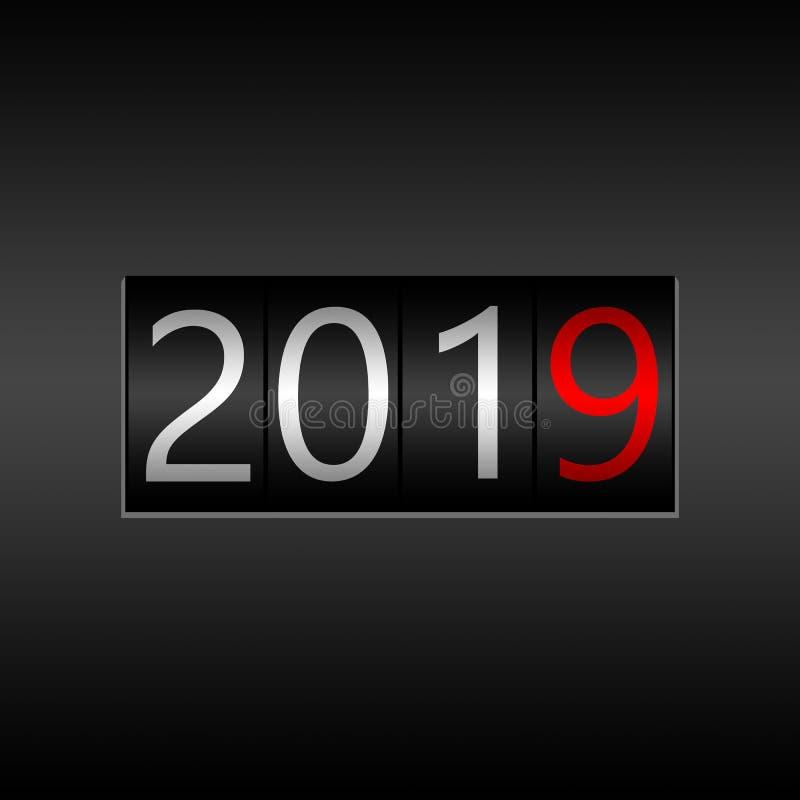 2019 Nieuwjaar Zwarte Odometer op grijze achtergrond - Nieuwjaar 2019 stock afbeeldingen