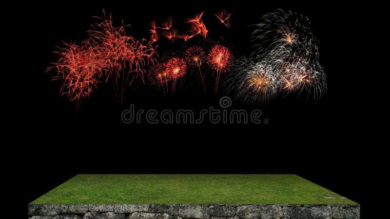 Nieuwjaarachtergrond met vuurwerk in dark royalty-vrije stock afbeeldingen