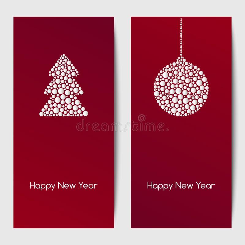 Nieuwjaarachtergronden met Kerstmisboom en hangende snuisterij van witte punten van diverse grootte Vector Malplaatje vector illustratie
