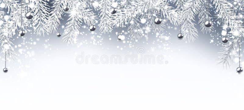 Nieuwjaarbanner met Kerstmisballen vector illustratie