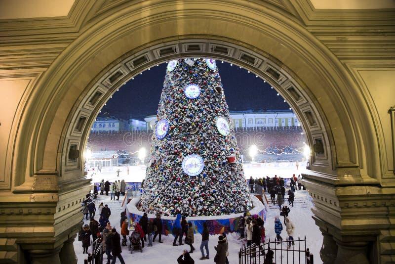 Nieuwjaarboom op Rood vierkant in Moskou royalty-vrije stock afbeelding