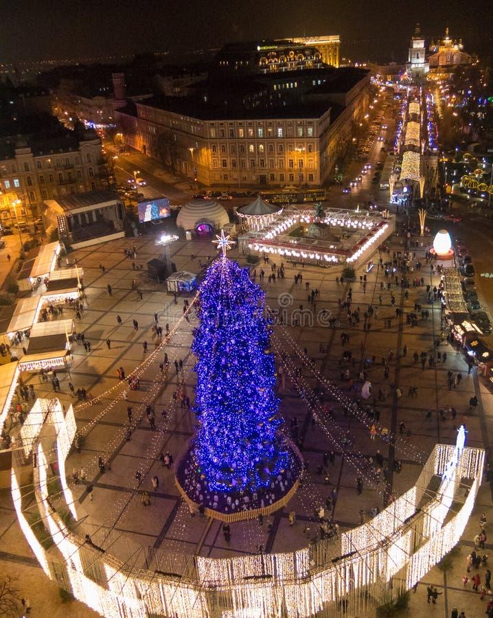 Nieuwjaarboom op Sophia Square in Kiev royalty-vrije stock foto's