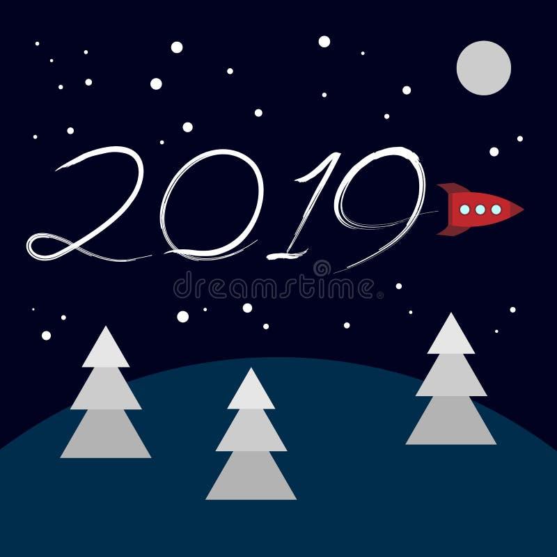 Nieuwjaarconcept - beeldverhaalraket stock illustratie