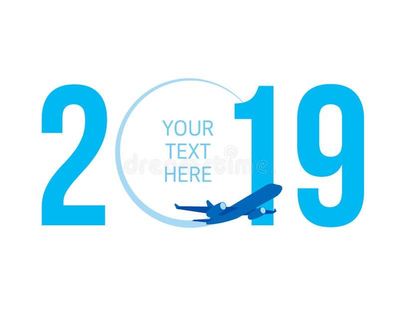 Nieuwjaarconcept - vliegtuig vector illustratie