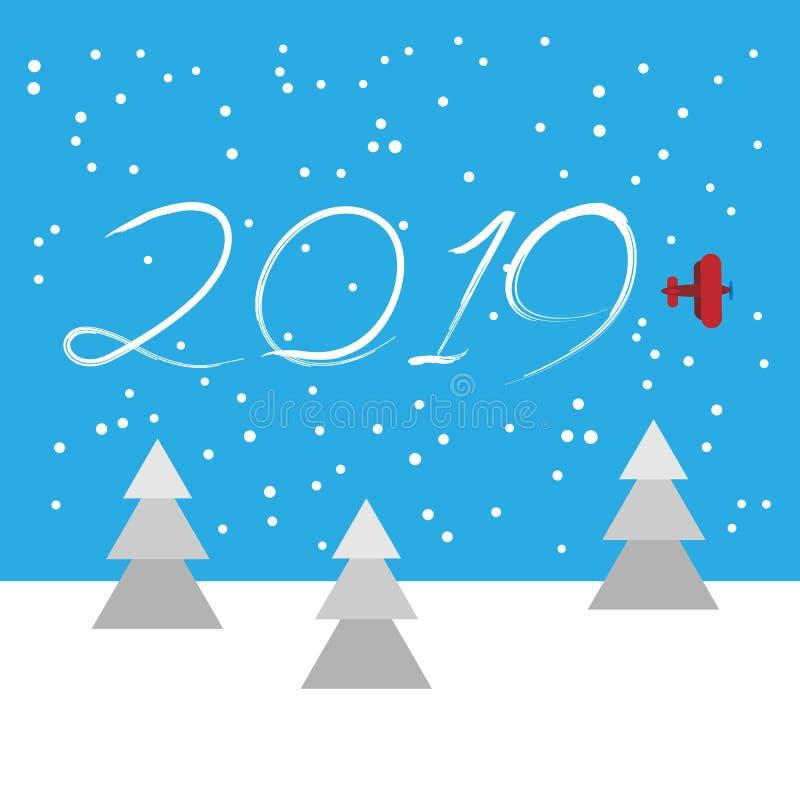 Nieuwjaarconcept - vliegtuig stock illustratie
