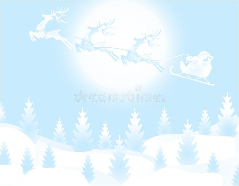 Nieuwjaarkerstmis Een beeld van Santa Claus en een hert De winterbos op de vooravond van het Nieuwjaar Sneeuw, maan, sterren vector illustratie