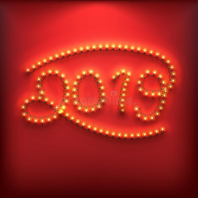 Nieuwjaarnummer 2019 gemaakt van Gloeilampen stock illustratie