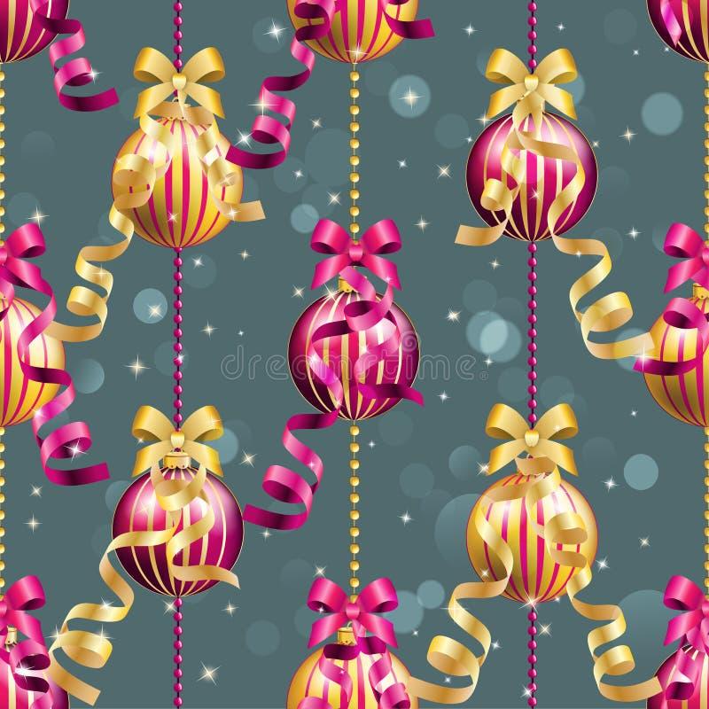 Nieuwjaarpatroon met bal Kan als Groetkaart of Dekking worden gebruikt vector illustratie