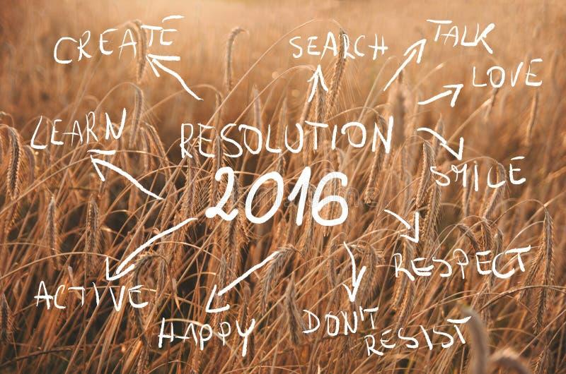 Nieuwjaarresolutie 2016 geschreven Doelstellingen over gebied van tarwe klaar om worden geoogst Het gebied van de zonsondergangta stock afbeeldingen