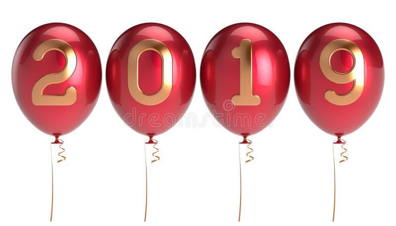 Nieuwjaarsdag 2019 geschikte de rij van partijballons royalty-vrije illustratie