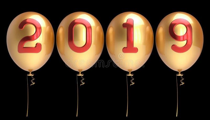 Nieuwjaarsdag 2019 gouden rode aantallen de van vier rijen van partijballons vector illustratie