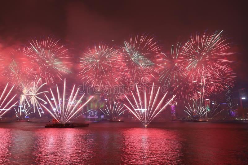 Nieuwjaarviering in Hong Kong 2018 stock afbeeldingen