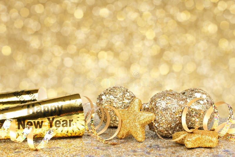 Nieuwjaren van de Achtergrond vooravond gouden partij royalty-vrije stock foto's