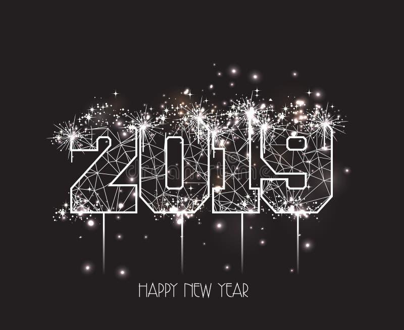 Nieuwjaren van 2019 de veelhoekige lijn en vuurwerkachtergrond vector illustratie