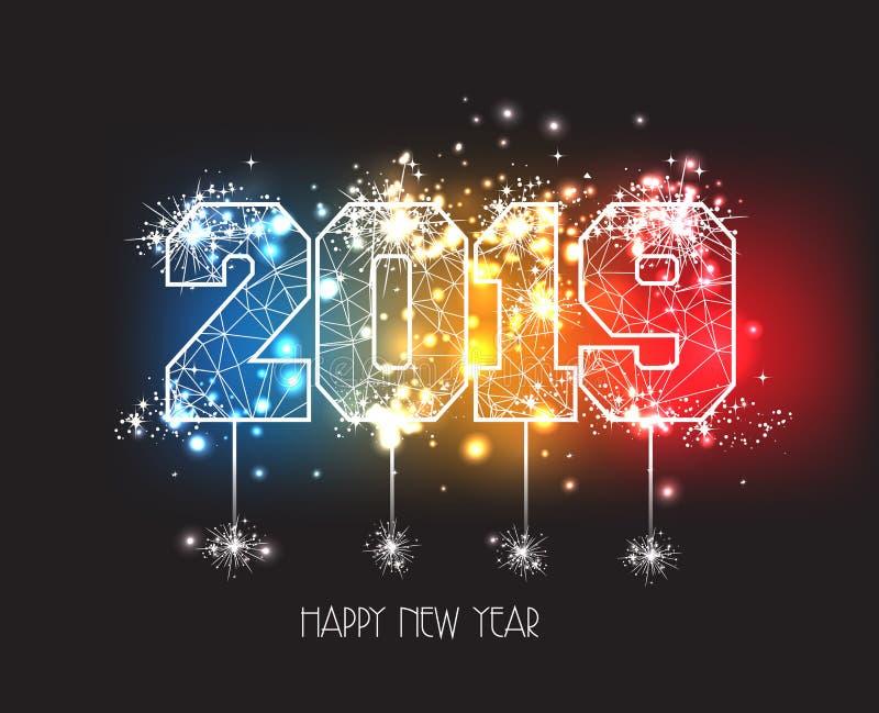 Nieuwjaren van 2019 de veelhoekige lijn en vuurwerkachtergrond royalty-vrije illustratie