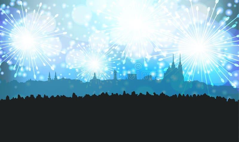 Nieuwjaren van Eve Fireworks over Silhouet van Stad van Brno stock illustratie