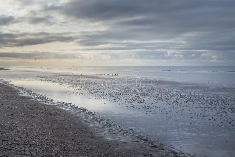 Nieuwpoort, Belgium - November 14,02019: soft colored cloudy seascape with blues oranges. Nieuwpoort, Belgium - November 14,02019: soft colored seascape with royalty free stock photos