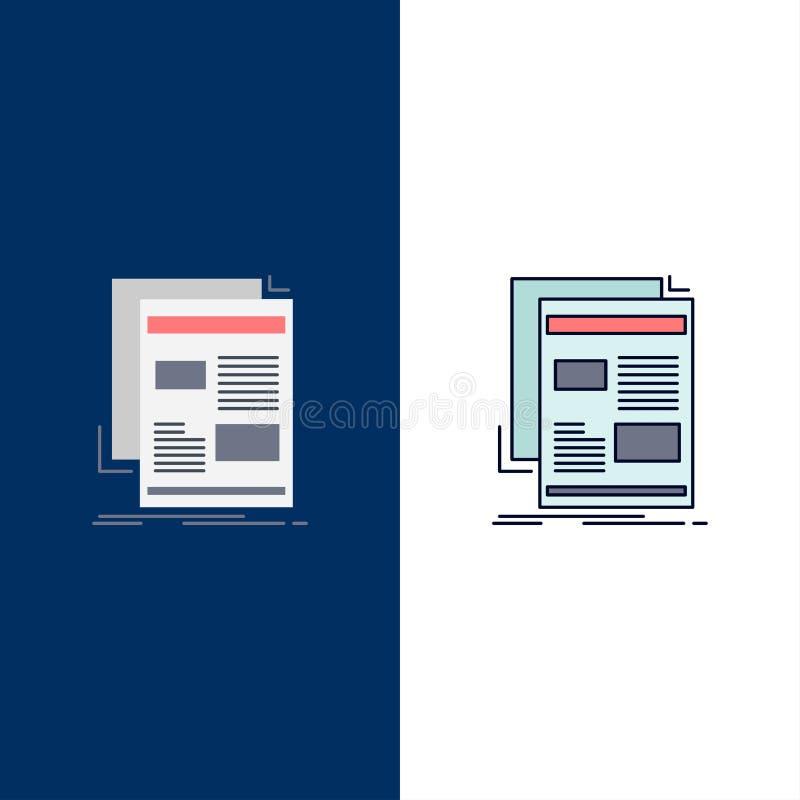nieuws, bulletin, krant, media, document de Vlakke Vector van het Kleurenpictogram vector illustratie