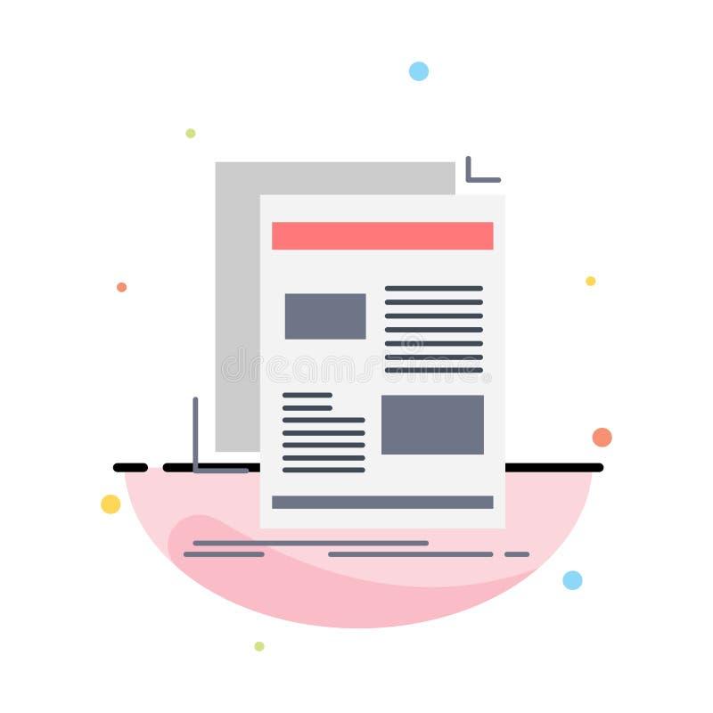 nieuws, bulletin, krant, media, document de Vlakke Vector van het Kleurenpictogram royalty-vrije illustratie