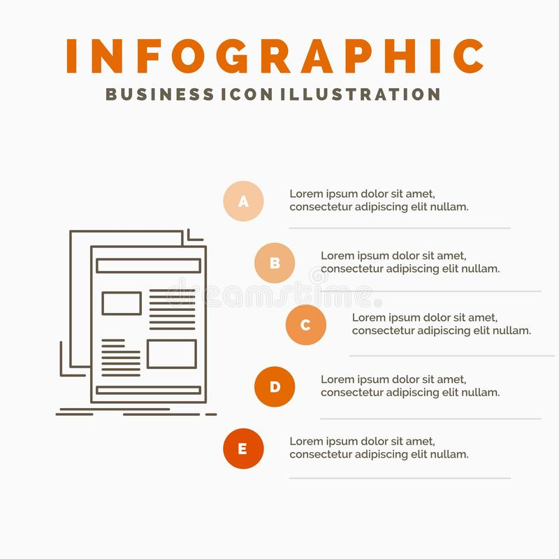 nieuws, bulletin, krant, media, document het Malplaatje van Infographics voor Website en Presentatie Lijn Grijs pictogram met Sin stock illustratie