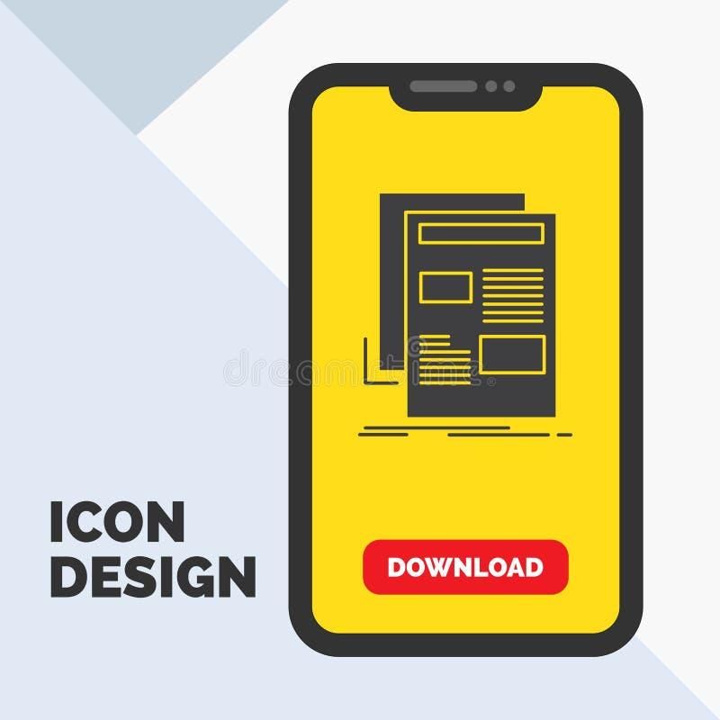 nieuws, bulletin, krant, media, document het Pictogram van Glyph in Mobiel voor Downloadpagina Gele achtergrond royalty-vrije illustratie