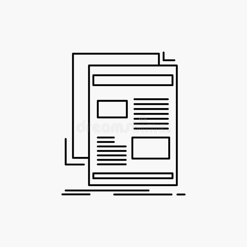 nieuws, bulletin, krant, media, document Lijnpictogram Vector ge?soleerde illustratie royalty-vrije illustratie