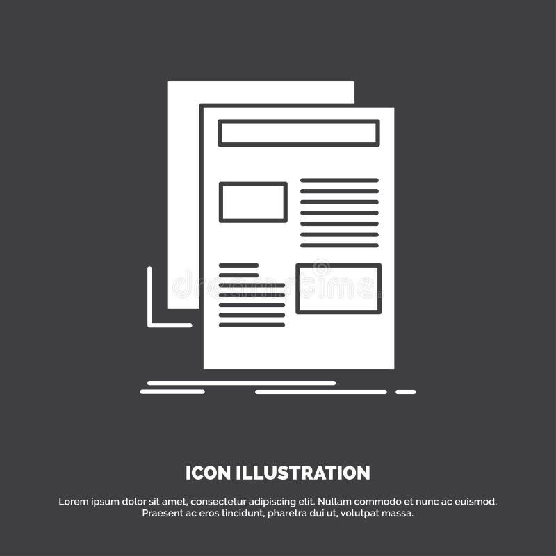 nieuws, bulletin, krant, media, document Pictogram glyph vectorsymbool voor UI en UX, website of mobiele toepassing stock illustratie