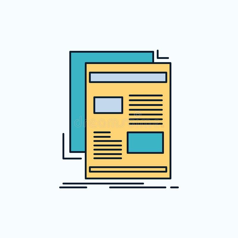 nieuws, bulletin, krant, media, document Vlak Pictogram groene en Gele teken en symbolen voor website en Mobiele appliation Vecto stock illustratie