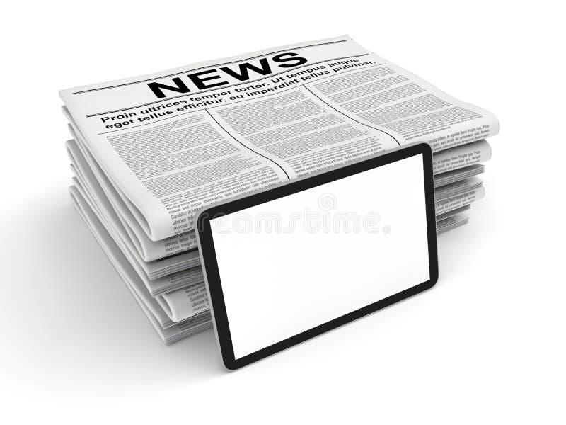 Nieuws in de krant en lege die tabletpc, op wit wordt geïsoleerd royalty-vrije stock foto's