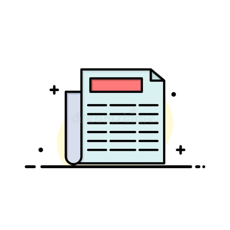 Nieuws, Document, Malplaatje Document van de Bedrijfs het Vlakke Lijn Gevulde Pictogram Vectorbanner royalty-vrije illustratie