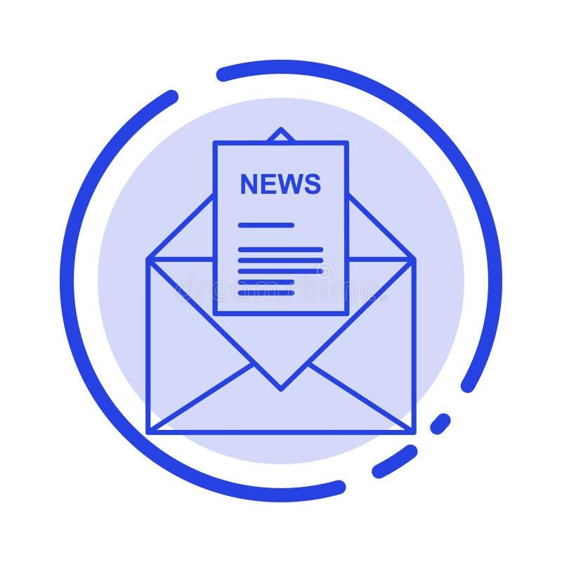 Nieuws, E-mail, Zaken, het Corresponderen, de Lijnpictogram van de Brieven Blauw Gestippelde Lijn vector illustratie