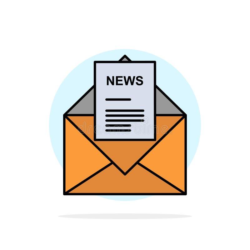 Nieuws, E-mail, Zaken, het Corresponderen, van de Achtergrond brieven Abstract Cirkel Vlak kleurenpictogram vector illustratie