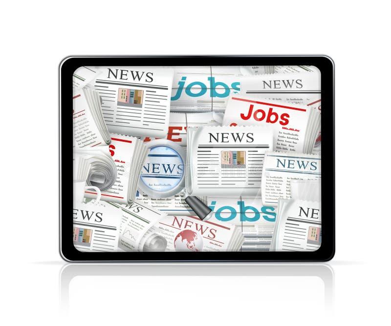 Nieuws, tabletcomputer vector illustratie