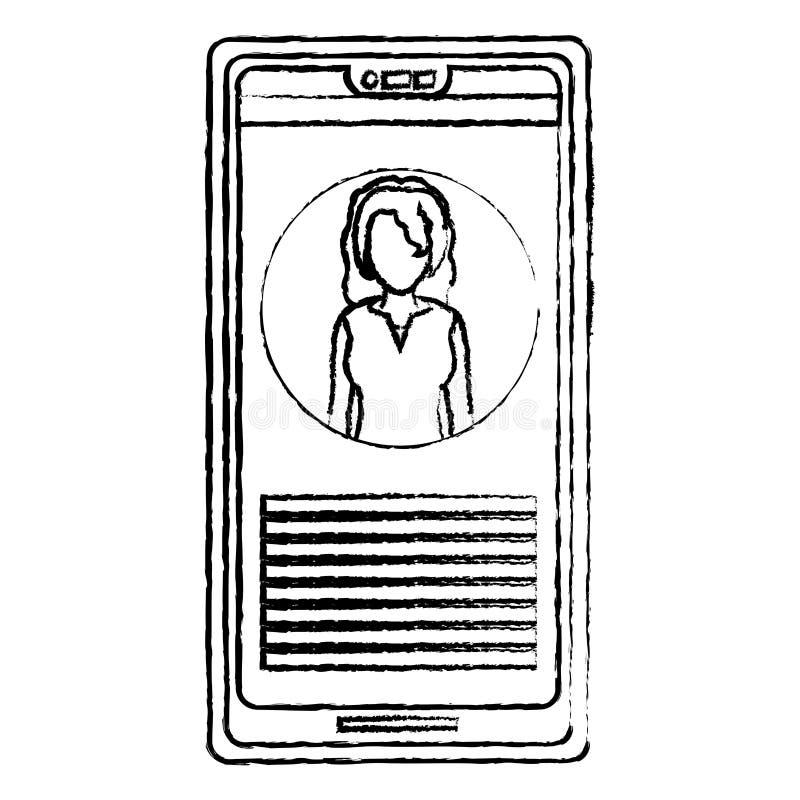 Nieuws van de de vrouwenverslaggever van Grungesmartphone het professionele vector illustratie