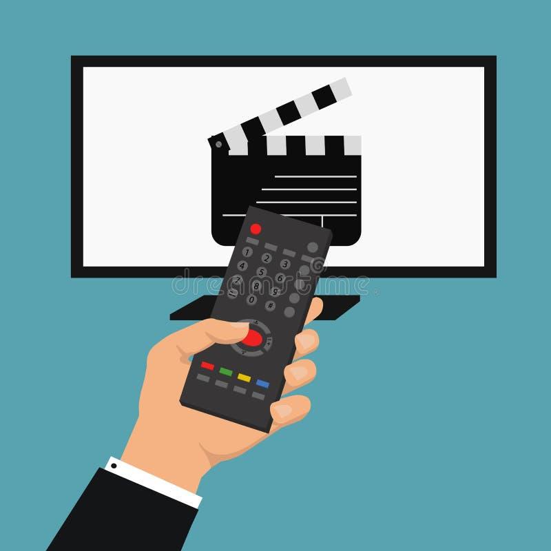 Nieuws van de wereld Vectorillustratie met de afstandsbediening van de handholding Vector slim TV-concept royalty-vrije illustratie