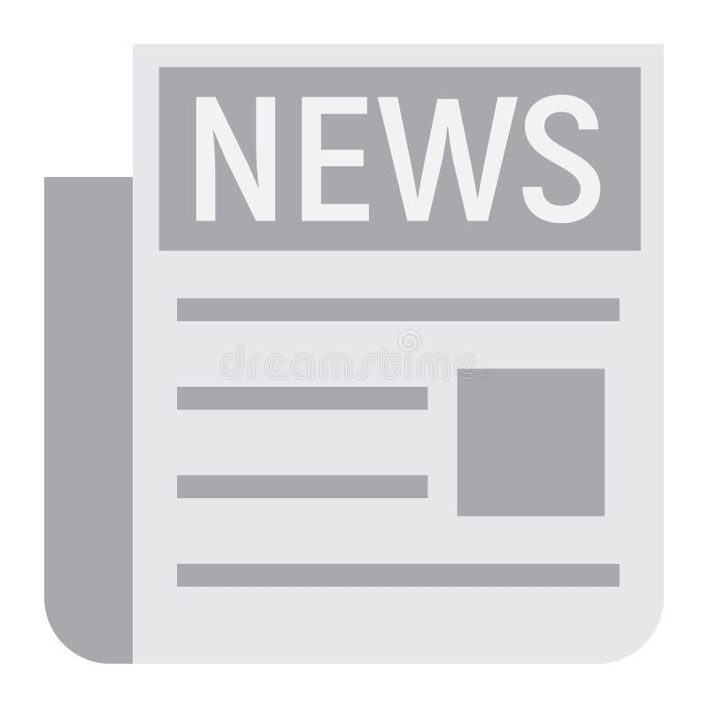Nieuws vlak pictogram, krant en website stock illustratie
