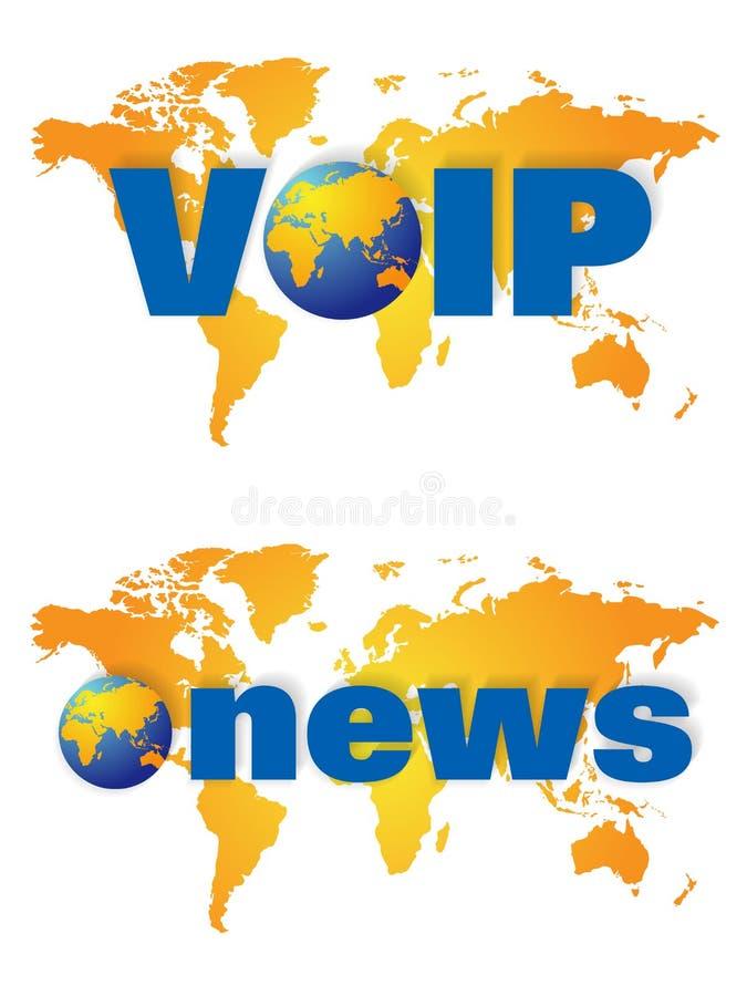 Nieuws wereldwijd en voip uitzendingsemblemen royalty-vrije illustratie
