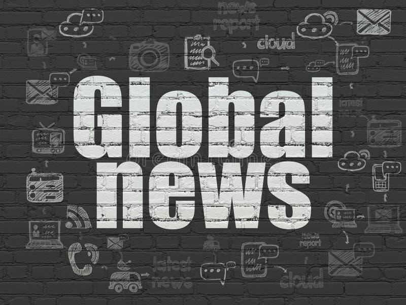 Nieuwsconcept: Globaal Nieuws op muurachtergrond vector illustratie