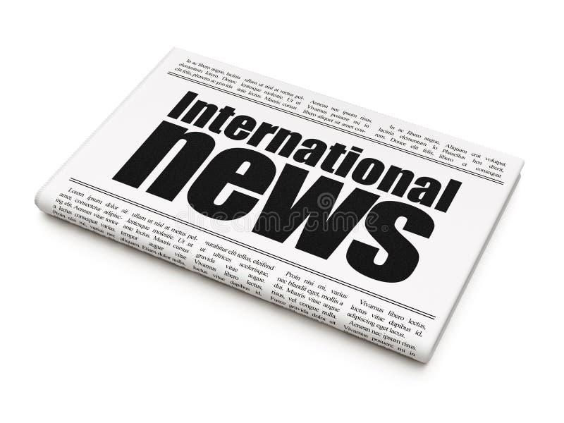 Nieuwsconcept: het Internationale Nieuws van de krantenkrantekop royalty-vrije illustratie
