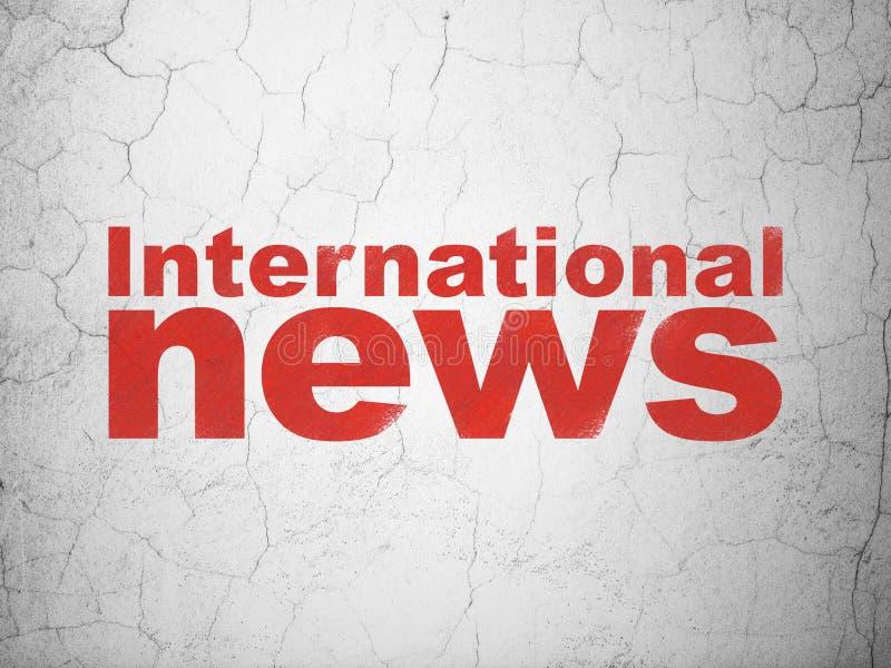 Nieuwsconcept: Internationaal Nieuws op muurachtergrond royalty-vrije illustratie
