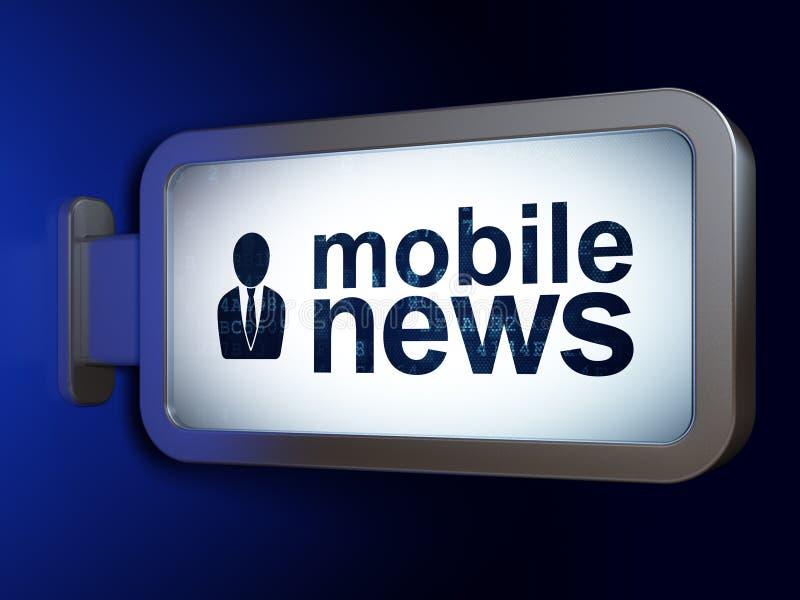 Nieuwsconcept: Mobiel Nieuws en Bedrijfsmens op aanplakbordachtergrond royalty-vrije illustratie