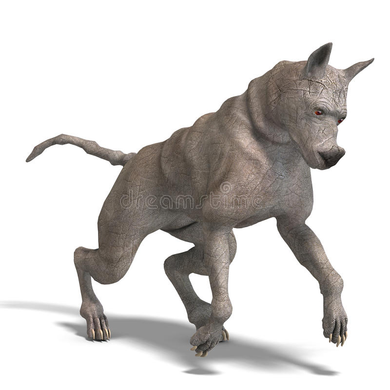 Nieuwsgierige vreemde hond met rinoceroshuid en hoorn stock illustratie