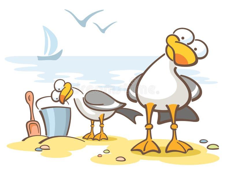 Nieuwsgierige zeemeeuwen stock illustratie