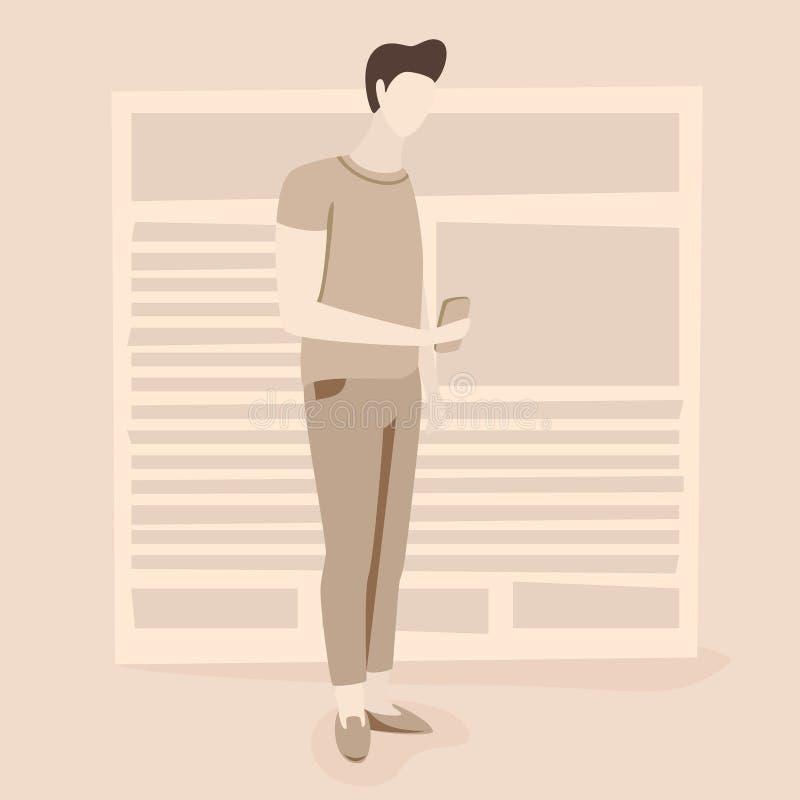 Nieuwsillustratie, het nieuws van de mensenlezing online royalty-vrije illustratie