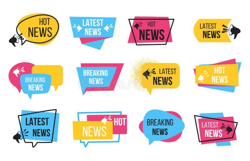 Nieuwskenteken Bevorderingsstickers met megafoon en tekstbol, brekende nieuwsaankondiging Vectorkrantenmarkeringen stock illustratie
